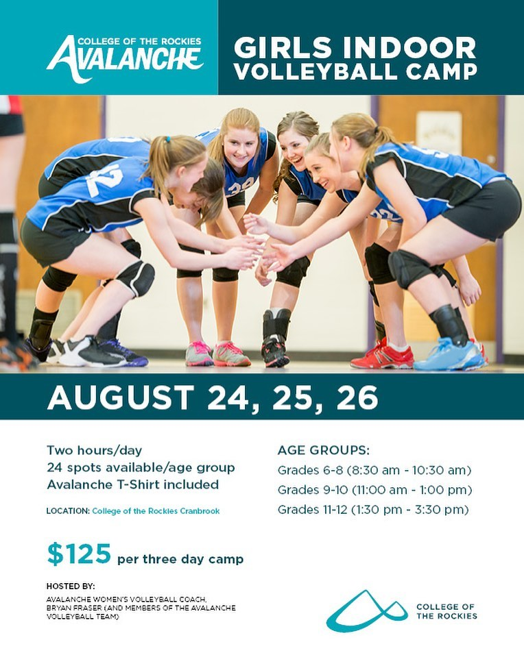 An image stating the Avalanche Girls Volleyball Camp runs August 24, 25, 26, 2021.