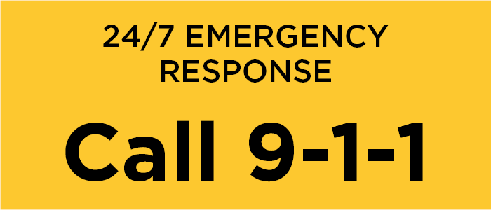 An infographic stating for 24/7 emergency response to CALL 9-1-1