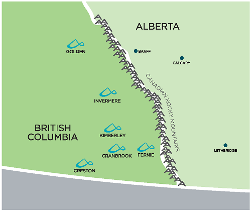 An image showing the locations of all College of the Rockies regional campuses. Our campuses are located in Cranbrook, Creston, Fernie, Invermere, Golden and Kimberley.
