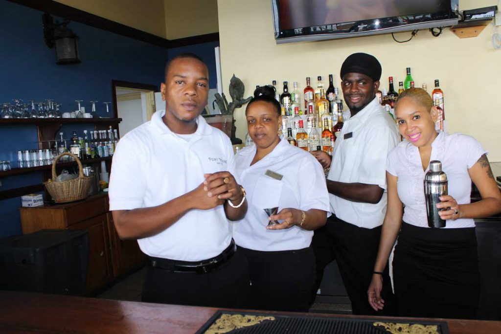 An image of some food and beverage servers in teh Caribbean.