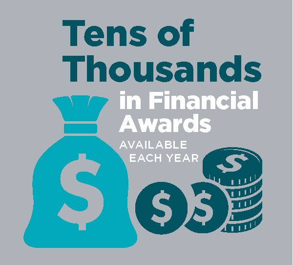 An image stating that College of the Rockies offers tens of thousands in financial awards each year.