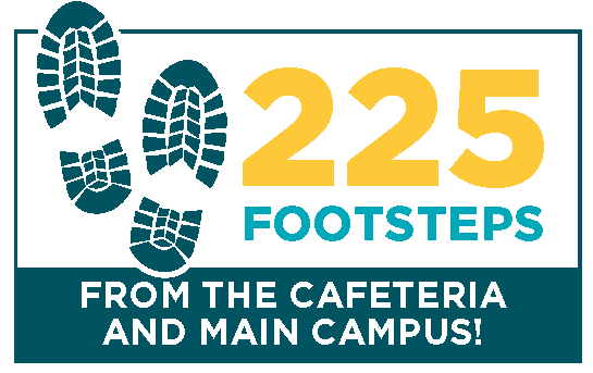 An image stating that the student residence is 225 footstrps from the cafeteria and main campus.