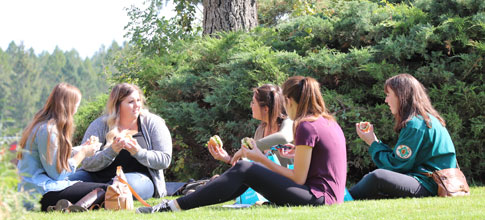 An image of three students sitting on the grass and visiting.
