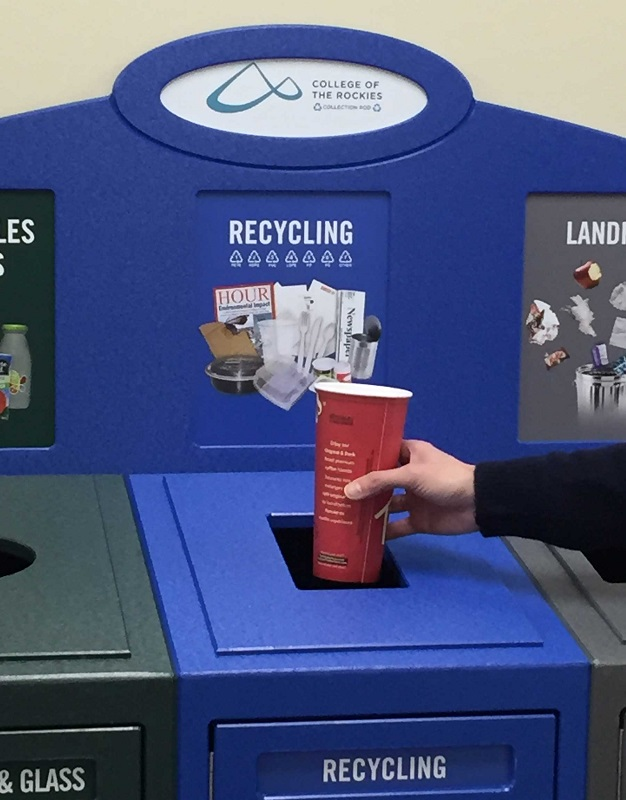 An image of a recycling bin at College of the Rockies.