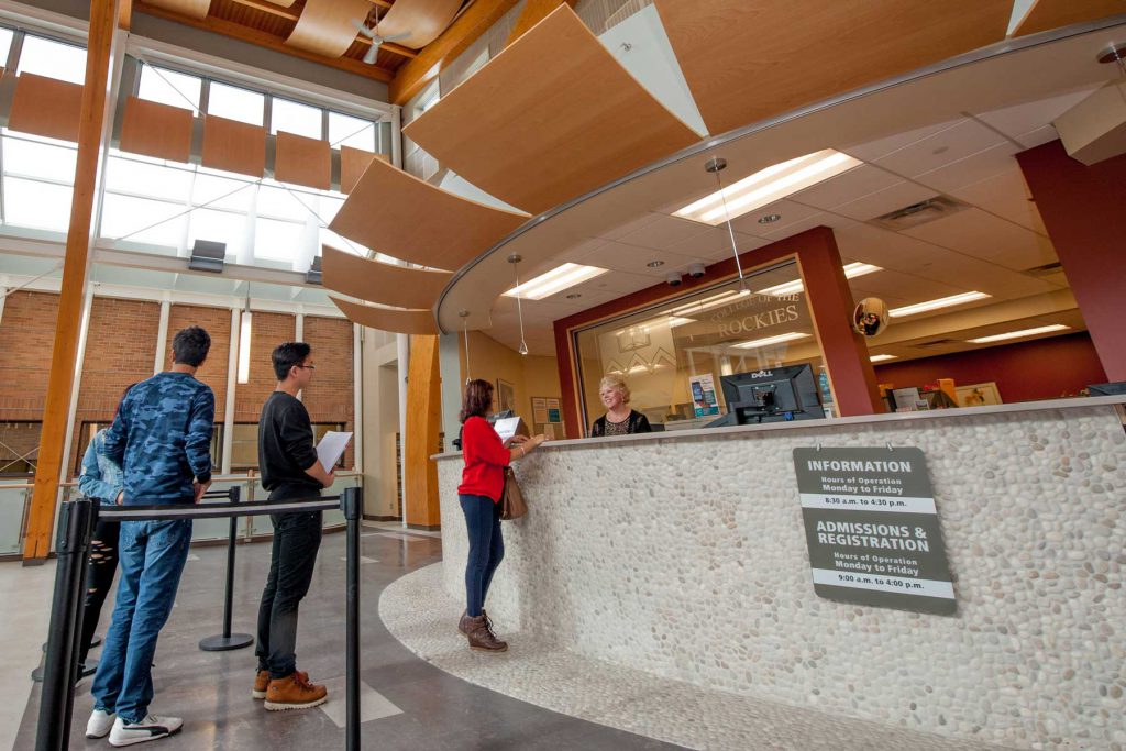 An image of the registration counter at the Cranbrook campus.