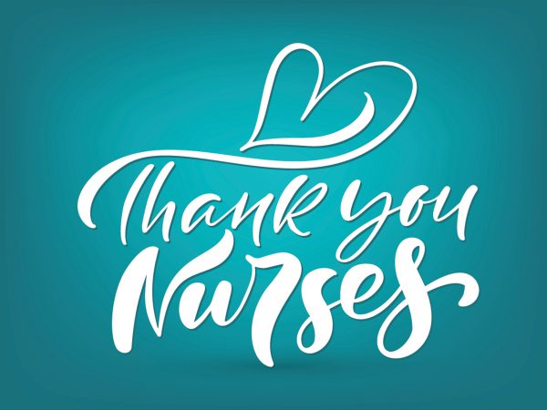 Image shows the words Thank you Nurses with a heart above them.