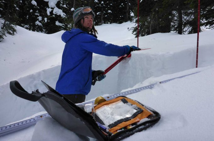 An image of a student taking part in Avalanche Skills training through College of the Rockies.