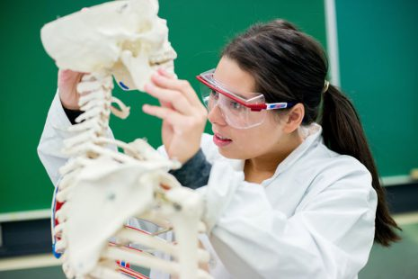 Image shows female student looking at skeletal model.
