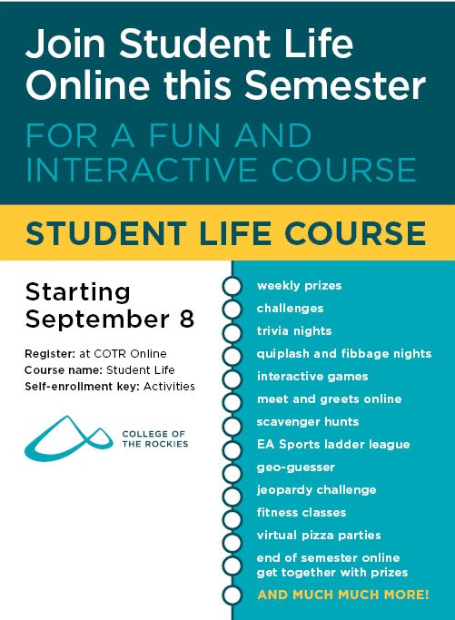 An image of a poster. For information on online student life activities contact the Student Life department.