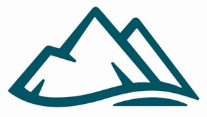 A white icon with an illustration of a mountain inside it.