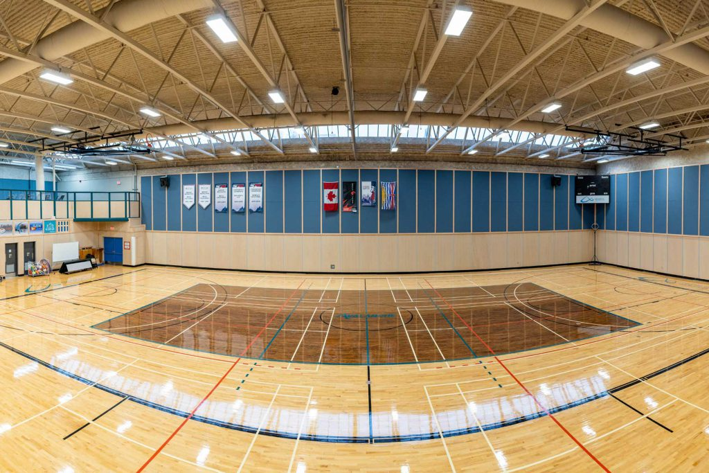 A panoramic image of the College of the Rockies Gymnasium.