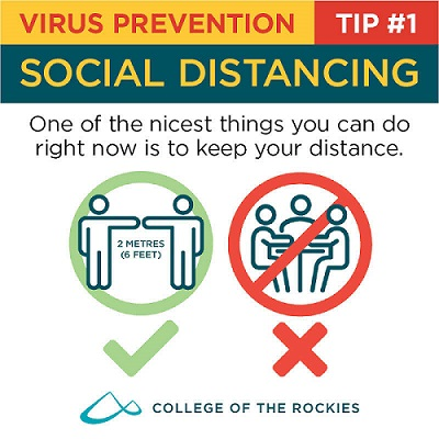 An infographic stating to stay at least 2 metres away from others during the coronavirus outbreak.