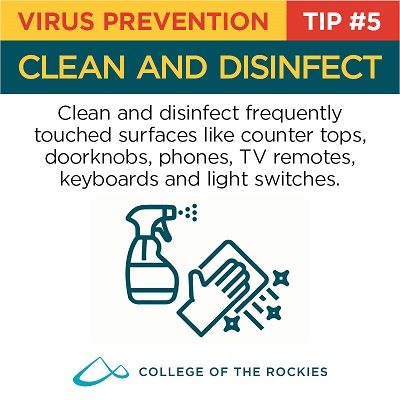 An infographic stating that using a disenfectant wipe helps slow the spread of a virus.