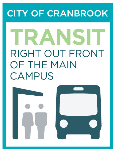 An infographic stating that College of the Rockies has transit service right to the front door of the Cranbrook campus.