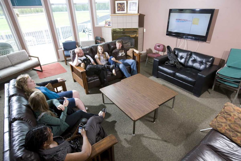 An image of several students chatting at the College of the Rockies' Student Residence.