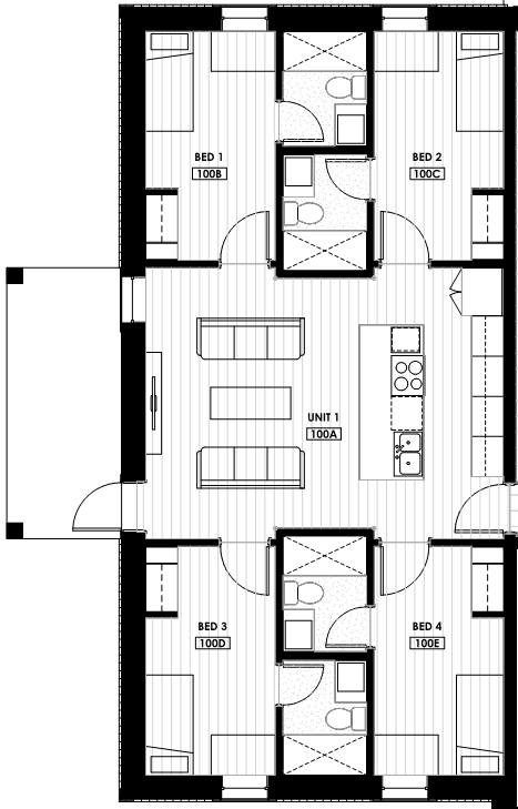 A floorplan showing the sample layout of the new student residence at College of the Rockies.